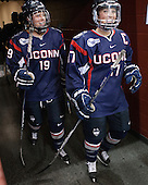 Margaret Zimmer (UConn - 19), Caitlin Hewes (UConn - 17) - The Boston College Eagles defeated the visiting UConn Huskies 4-0 on Friday, October 30, 2015, at Kelley Rink in Conte Forum in Chestnut Hill, Massachusetts.