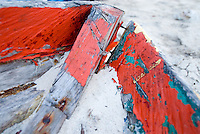 Close-up of weathered and ruined, buried in sand, boat bow, Comarca De Kuna Yala, San Blas Islands, Panama