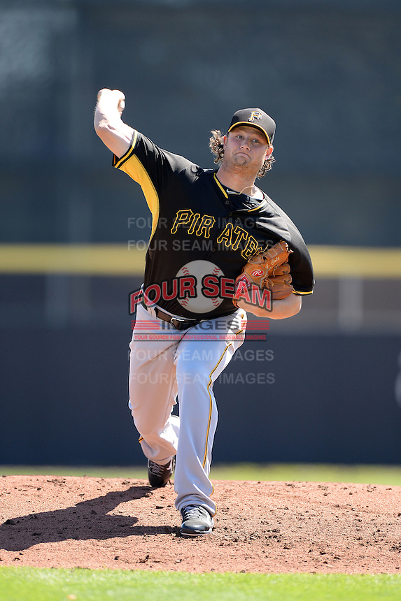 Pitcher Gerrit Cole (45) of the Pittsburgh Pirates during a spring training game against the Toronto Blue Jays on February 28, 2014 at Florida Auto Exchange Stadium in Dunedin, Florida.  Toronto defeated Pittsburgh 4-2.  (Mike Janes/Four Seam Images)