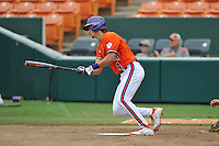 Junior infielder Eli White (4) (Wren High School) of the Clemson Tigers in a fall practice intra-squad Orange-Purple scrimmage on Sunday, September 27, 2015, at Doug Kingsmore Stadium in Clemson, South Carolina. (Tom Priddy/Four Seam Images)