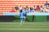 Houston, TX - Saturday May 13, 2017: Sky Blue FC forward Samantha Kerr (20) celebrates after scoring a goal with Sky Blue FC midfielder Raquel Rodriguez (11) during a regular season National Women's Soccer League (NWSL) match between the Houston Dash and Sky Blue FC at BBVA Compass Stadium. Sky Blue won the game 3-1.