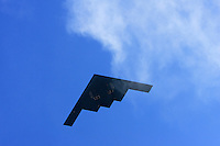A B-2 bomber from Whiteman Air Force Base provides a flyover before the game with the Oakland Raiders at Arrowhead Stadium in Kansas City, Missouri on November 19, 2006. The Chiefs won 17-13.