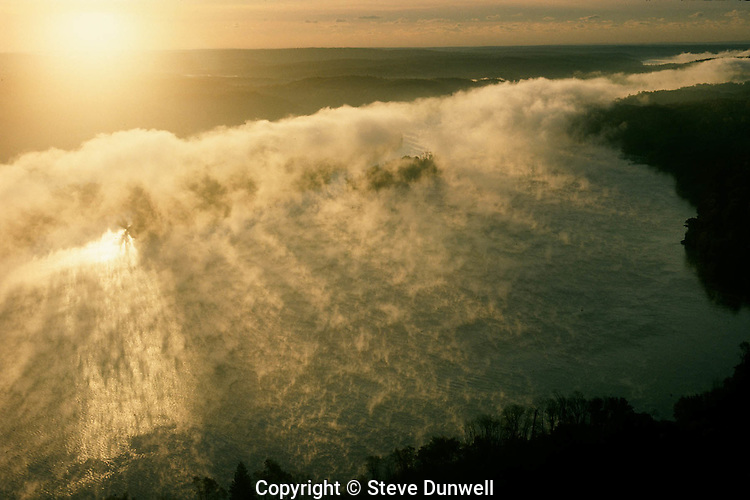 Connecticut River aerial sunrise, with river fog, East Haddam, CT