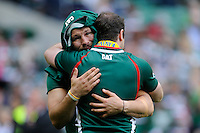 Martin Castrogiovanni (left) after his last game for leicester and Geordan Murphy of Leicester Tigers hug each other after winning the Aviva Premiership Final between Leicester Tigers and Northampton Saints at Twickenham Stadium on Saturday 25th May 2013 (Photo by Rob Munro)