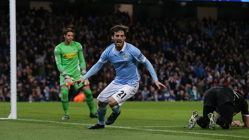 Manchester City's David Silva celebrates scoring the opening goal <br /> <br /> Photographer Stephen White/CameraSport<br /> <br /> Football - UEFA Champions League Group D - Manchester City v Borussia Monchengladbach - Tuesday 8th December 2015 - Ethiad Stadium - Manchester<br />  - <br /> &copy; CameraSport - 43 Linden Ave. Countesthorpe. Leicester. England. LE8 5PG - Tel: +44 (0) 116 277 4147 - admin@camerasport.com - www.camerasport.com