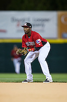 Hickory Crawdads second baseman Travis Demeritte (25) on defense against the Kannapolis Intimidators at L.P. Frans Stadium on April 23, 2015 in Hickory, North Carolina.  The Crawdads defeated the Intimidators 3-2 in 10 innings.  (Brian Westerholt/Four Seam Images)