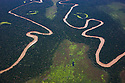 Bolivia, Beni Department, aerial view of winding rivers in the Amazon basin