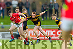Liam Kearney, East Kerry in action against Johnny Buckley, Dr Crokes  during the Kerry County Senior Club Football Championship Final match between East Kerry and Dr. Crokes at Austin Stack Park in Tralee, Kerry.