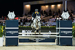 Nathaniel Chan of Hong Kong riding Lay Your Love On Z competes in the HKJC Junior Trophy during the Longines Masters of Hong Kong at AsiaWorld-Expo on 11 February 2018, in Hong Kong, Hong Kong. Photo by Diego Gonzalez / Power Sport Images