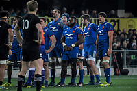 The France scrum prepares to set during the Steinlager Series international rugby match between the New Zealand All Blacks and France at Forsyth Barr Stadium in Wellington, New Zealand on Saturday, 23 June 2018. Photo: Dave Lintott / lintottphoto.co.nz