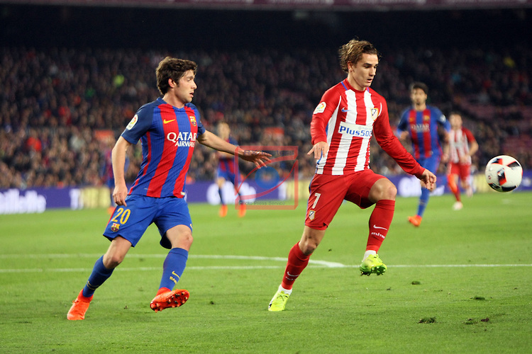 Copa del Rey 2016/2017 - Semifinal vuelta.<br /> FC Barcelona vs Atletico Madrid: 1-1.<br /> Sergi Roberto vs Griezmann.