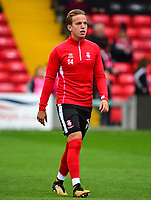 Lincoln City's Jordan Maguire-Drew during the pre-match warm-up<br /> <br /> Photographer Andrew Vaughan/CameraSport<br /> <br /> The EFL Sky Bet League Two - Lincoln City v Chesterfield - Saturday 7th October 2017 - Sincil Bank - Lincoln<br /> <br /> World Copyright &copy; 2017 CameraSport. All rights reserved. 43 Linden Ave. Countesthorpe. Leicester. England. LE8 5PG - Tel: +44 (0) 116 277 4147 - admin@camerasport.com - www.camerasport.com