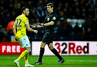 Referee Robert Jones has a word with Leeds United's Jack Harrison<br /> <br /> Photographer Alex Dodd/CameraSport<br /> <br /> The EFL Sky Bet Championship - Preston North End v Leeds United -Tuesday 9th April 2019 - Deepdale Stadium - Preston<br /> <br /> World Copyright &copy; 2019 CameraSport. All rights reserved. 43 Linden Ave. Countesthorpe. Leicester. England. LE8 5PG - Tel: +44 (0) 116 277 4147 - admin@camerasport.com - www.camerasport.com