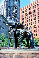 "Cleveland: Bronze of Tom Johnson, 1915 by Herman Matzen. Public Square. Tom hold Henry George's ""Progress and Poverty. Photo '01."