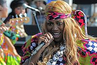 UK popstress Ebony Thomas aka Ebony Bones performs at the final Pool Parties Concert in McCarren Park  , Brooklyn NYC