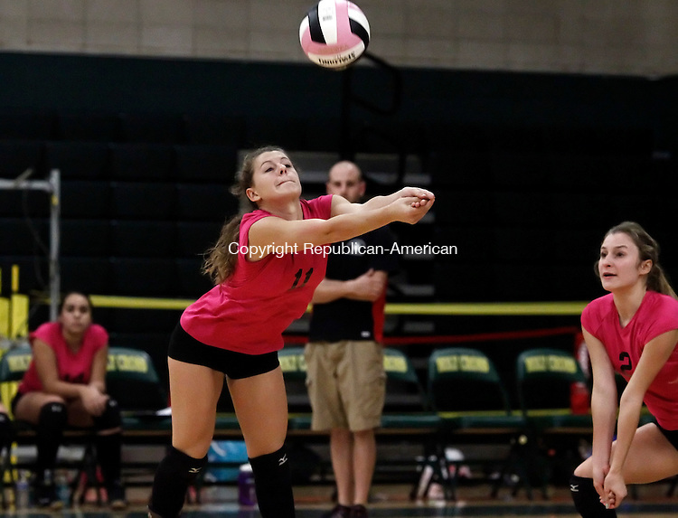 Waterbury, CT- 23 October 2014-102314CM11-  Northwestern's #11 Gina Folino moves in to hit the ball during their volleyball matchup against Holy Cross in Waterbury on Thursday. Also in the play is teammate, #2 Jenna Buzinsky.  Christopher Massa Republican-American
