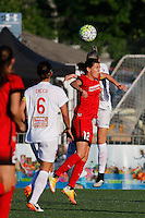 Rochester, NY - Friday June 17, 2016: Portland Thorns FC forward Christine Sinclair (12), Western New York Flash defender Alanna Kennedy (8) during a regular season National Women's Soccer League (NWSL) match between the Western New York Flash and the Portland Thorns FC at Rochester Rhinos Stadium.