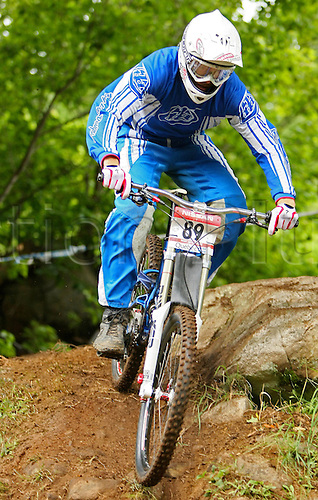 25 JULY 2009: Curtis Keene from USA in action during the Nissan Mountain Bike World Cup Downhill Men Finals at the Mont-Sainte-Anne, Quebec, Canada.(Photo: Jean-Yves Ahern/ActionPlus) UK Licenses Only