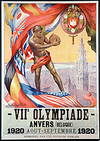 August-September 1920, Olympic Stadium, Antwerp, Belgium;  1920 Summer Olympic Games; A display from the Olympics of 1920 in Antwerp; A total of 29 nations participated in the Antwerp Games, only one more than in 1912, as Germany, Austria, Hungary, Bulgaria and Ottoman Empire were not invited, having lost World War I.