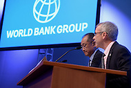 Washington, DC - April 16, 2015: World Bank President Jim Yong Kim (left) holds a press availability April 16, 2015 at the International Monetary Fund Headquarters in the District of Columbia during the annual Spring Meeting of the World Bank Group/IMF.   (Photo by Don Baxter/Media Images International)