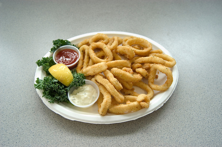 California, San Diego.  Onion rings at Tin Fish restaurant on Imperial Beach Pier.  Photo #: casand107.  Photo copyright Lee Foster, 510/549-2202, lee@fostertravel.com, www.fostertravel.com