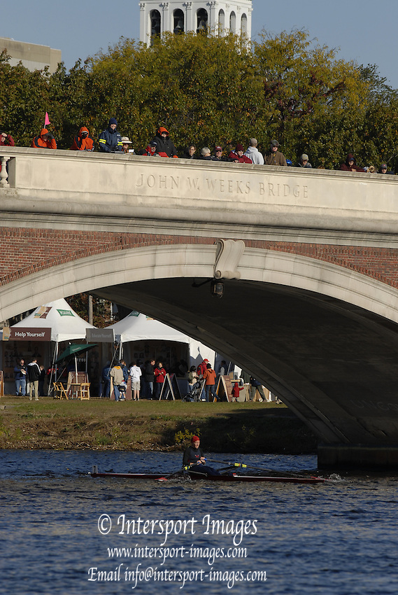 Boston, Massachusetts, Senior Master Women's Single,W1X approaching and moving under the  Weeks Footbridge, competing in the Forty second Head of the Charles, 21/10/2006.  Photo  Peter Spurrier/Intersport Images...[Mandatory Credit, Peter Spurier/ Intersport Images] Rowing Course; Charles River. Boston. USA