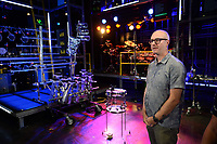 NWA Democrat-Gazette/ANDY SHUPE<br /> Jon Knight, creative director for Blue Man Group, speaks Tuesday, Aug. 27, 2019, during a press tour of the company's new show at the Walton Arts Center in Fayetteville.