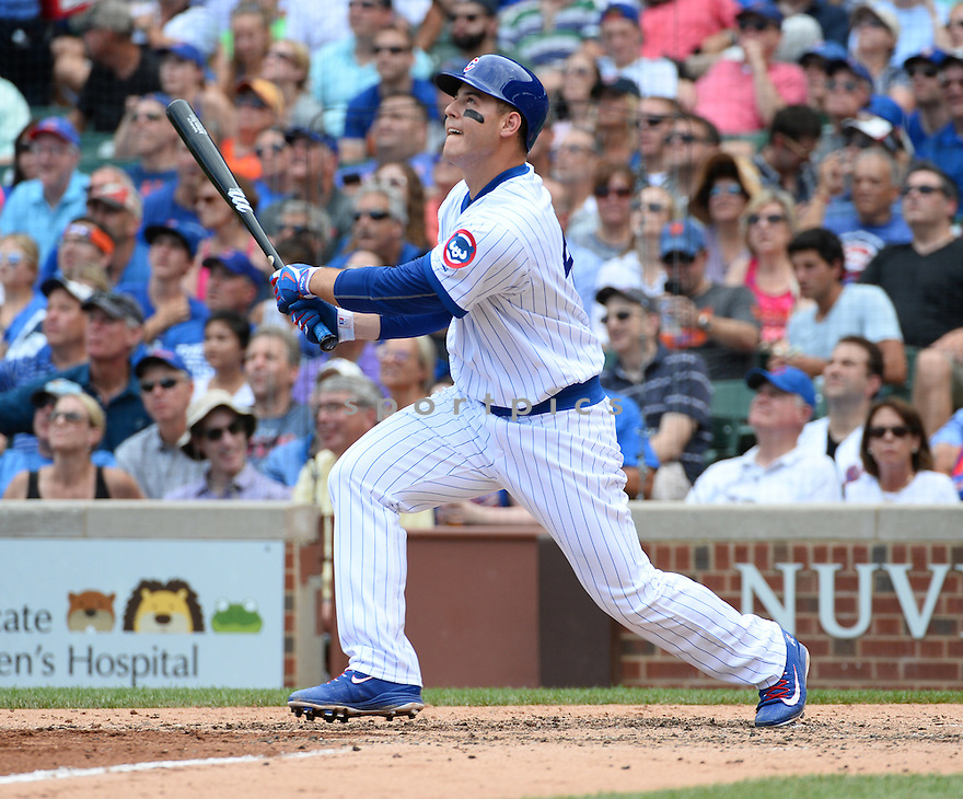 Chicago Cubs Anthony Rizzo (44) during a game against the New York Mets on July 20, 2016 at Wrigley Field in Chicago, IL. The Cubs beat the Mets 6-2.