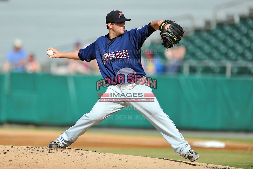 Huntsville Stars starting pitcher David Goforth #17 delivers a pitch during game one of a double header against the Tennessee Smokies at Smokies Park on July 8, 2013 in Kodak, Tennessee. The Stars won the game 2-0. (Tony Farlow/Four Seam Images)