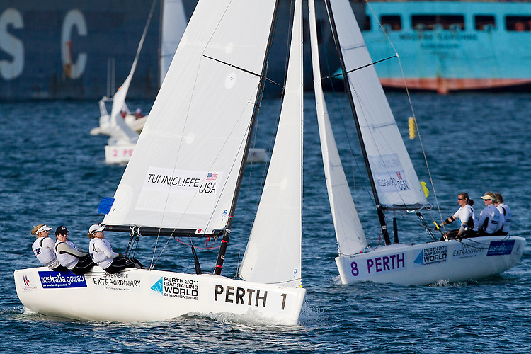 20111203, PERTH, AUSTRALIA: PERTH 2011 ISAF SAILING WORLD CHAMPIONSHIPS - 1200 sailors from 79 countries compete to qualify their nation for the 2012 Olympics. Women's Match Race - Day 1. ANNA TUNNICLIFFE (USA). Photo: Mick Anderson/SAILINGPIX.DK