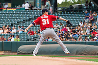 Tacoma Rainiers starting pitcher Tyler Olson (31) delivers a pitch to the plate against the Salt Lake Bees in Pacific Coast League action at Smith's Ballpark on September 1, 2015 in Salt Lake City, Utah.  (Stephen Smith/Four Seam Images)