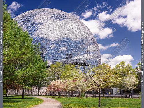 Montreal Biosphere springtime day scenery, Saint Helen's Island, Montreal, Quebec, Canada. Biosphère de Montréal, Ville de Montréal, Québec, Canada 2017.