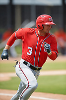 Washington Nationals Nick Banks (3) during a Minor League Spring Training game against the Miami Marlins on March 28, 2018 at FITTEAM Ballpark of the Palm Beaches in West Palm Beach, Florida.  (Mike Janes/Four Seam Images)