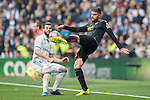 David Lopez of RCD Espanyol fights for the ball with Nacho Fernandez of Real Madrid during the match Real Madrid vs RCD Espanyol, a La Liga match at the Santiago Bernabeu Stadium on 18 February 2017 in Madrid, Spain. Photo by Diego Gonzalez Souto / Power Sport Images