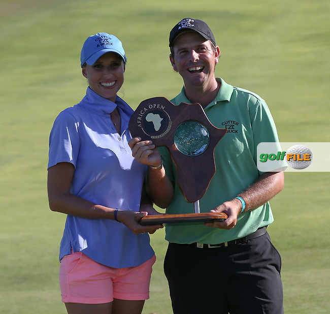 Thomas Aiken (RSA) and caddie wife Kate over the moon as winners of The Africa Open 2014 at the East London Golf Club, Eastern Cape, South Africa. Picture:  David Lloyd / www.golffile.ie