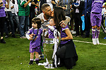 Sergio Ramos of Real Madrid kisses his wife and celebrates the winning of the Champions League during the UEFA Champions League Final match between Real Madrid and Juventus at the National Stadium of Wales, Cardiff, Wales on 3 June 2017. Photo by Giuseppe Maffia.<br /> <br /> Giuseppe Maffia/UK Sports Pics Ltd/Alterphotos