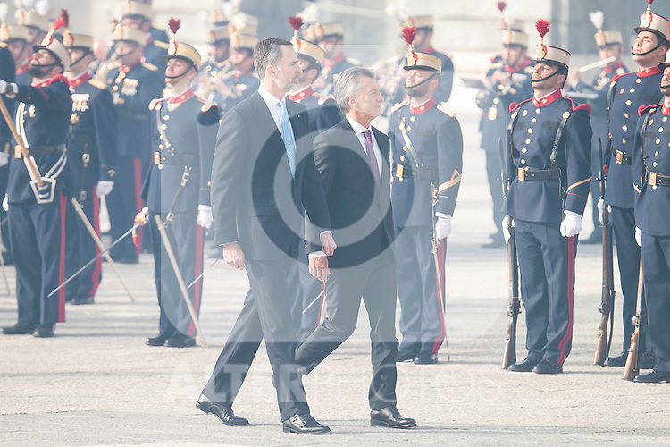 President of Argentinian Republic Mauricio Macri and  King Felipe VI of Spain during state visit of the president of Argentinian Republic, Sr. Mauricio Macri and Sra Juliana Awada at Real Palace in Madrid, Spain. February 19, 2017. (ALTERPHOTOS/BorjaB.Hojas)