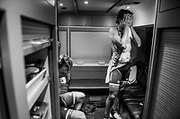Friends/teammates Koen de Kort (NED/Trek-Segafredo) & John Degenkolb (DEU/Trek-Segafredo) just returned in the teambus after a hard day of racing. <br /> They performed strong as a collective, but without a podium result this year.<br /> <br /> 108th Milano - Sanremo 2017