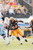 September 7, 2009; Hamilton, ON, CAN; Hamilton Tiger-Cats defensive lineman Khari Long (94). CFL football - the Labour Day Classic - Toronto Argonauts vs. Hamilton Tiger-Cats at Ivor Wynne Stadium. The Tiger-Cats defeated the Argos 34-15. Mandatory Credit: Ron Scheffler.
