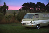 NEW ZEALAND, Oamaru, Retro Dodge Van in a Campground at Sunrise, Ben M Thomas