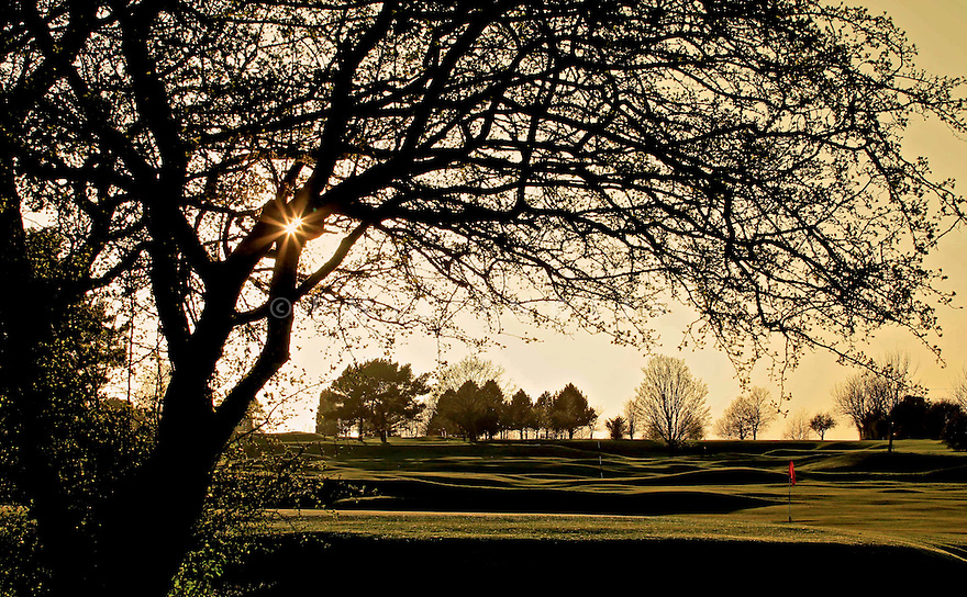 Evening light over the 7th green at Kingsdown Golf Club, Wiltshire....