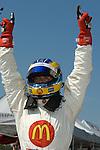 11 August 2007: Sebastien Bourdais (FRA) celebrates winning the pole at the Champ Car Generac Grand Prix at Road America, Elkahart Lake, WI.