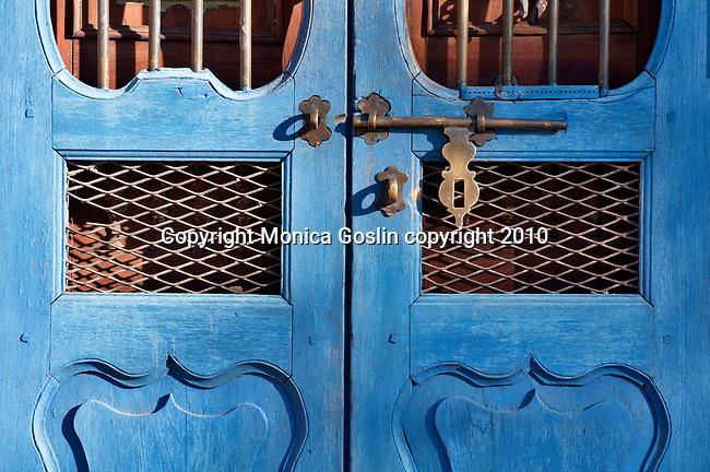 Blue gate in Santa Fe, New Mexico