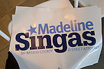 Garden City, New York, USA. 26th May 2015. At end of Nassau County Democrats nominating convention, a sign for Madeline Singas, who is running for Nassau County District Attorney, remains on seat of audience chair. Singas, who became Acting Nassau County DA when D.A. Rice resigned to join Congress, is one of 55 candidates the executive committee nominated for races.