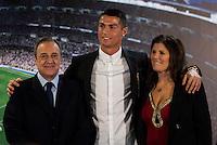 Real Madrid's president Florentino Perez and Cristiano Ronaldo with his mother Maria Dolores dos Santos Aveiro during the renews of Cristiano Ronaldo's contract with Real Madrid until 2021 at Santiago Bernabeu Stadium in Madrid. November , 2016. (ALTERPHOTOS/Borja B.Hojas) ///NORTEPHOTO.COM