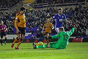 4th December 2017, St. Andrews Stadium, Birmingham, England; EFL Championship football, Birmingham City versus Wolverhampton Wanderers; David Stockdale of Birmingham City manages to stop Hélder Costa of Wolverhampton Wanderers taking the ball past him with a stretched leg