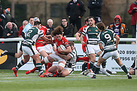 Benjamin Pienaar of London Welsh tries to find a way through the Ealing Trailfinders defence during the Greene King IPA Championship match between Ealing Trailfinders and London Welsh RFC at Castle Bar , West Ealing , England  on 26 November 2016. Photo by David Horn / PRiME Media Images