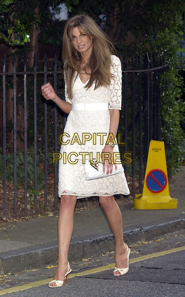 JEMIMA KAHN.David Frost's Summer Party.London 6 July 2004.Ref: PL.full length gemina khan white lace belted dress clutch bag large ring on wedding finger.www.capitalpictures.com.sales@capitalpictures.com.©Capital Pictures