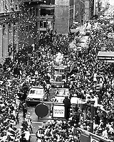 San Francisco 49ers parade down Montgomery St. in downtown San Francisco, Jan 1982. The 49ers had just defeated the Cincinnati Bengals in Super Bowl XVI..(photo by Ron Riesterer)