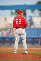 Palm Beach Cardinals relief pitcher Ian McKinney (22) looks in for the sign during a game against the Charlotte Stone Crabs on April 21, 2018 at Charlotte Sports Park in Port Charlotte, Florida.  Charlotte defeated Palm Beach 5-2.  (Mike Janes/Four Seam Images)